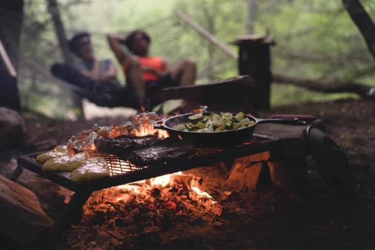 Food over a campfire