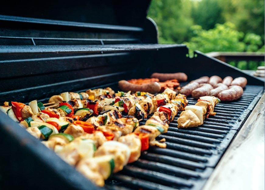 A grill with food